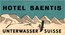 1 Hotel Label Etiquette SKI Skifahren  PUB  Hotel  Saentis Unterwasser Suisse Switzerland Schweiz - Sports D'hiver