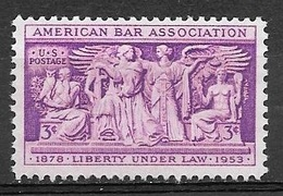 1953 3 Cents Bar Association Mint Never Hinged - Verenigde Staten