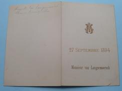 Monsieur Van LANGERMEERSCH - 27 Septembre 1894 ( Zie Foto Voor Details ) !! - Menus
