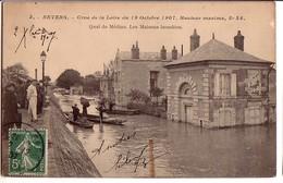 NEVERS: Crue De La Loire Du 19 Octobre 1907 - Quai De Médine, Les Maisons Inondées - Nevers