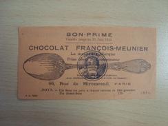 BON PRIME 1942 CHOCOLAT FRANCOIS MEUNIER 66 Rue De Miromesnil PARIS - Reclame