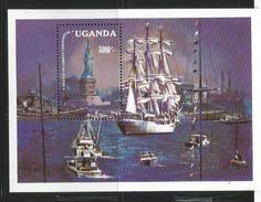 1986 Uganda USA Statue Of Liberty Anniversary Ships Souvenir Sheet MNH - - Uganda (1962-...)