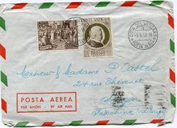 VATICAN LETTRE PAR AVION DEPART CITTA DEL VATICANO 3-5-52 POSTA AEREA POUR L'INDOCHINE - Lettres & Documents