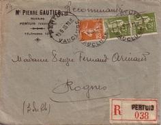 VAUCLUSE - PERTUIS - LETTRE RECOMMANDEE DU 15-1-1935 - AFFRANCHISSEMENT SEMEUSE ET TYPE PAIX - Postmark Collection (Covers)