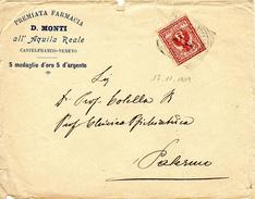 Castelfranco Veneto (TONDO-RIQUADRATO) Palermo, 17.11.1909 CAMPIONI Lettera INTESTATA Affrancata Con 2c. Floreale -1/6 - 1900-44 Vittorio Emanuele III