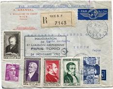 FRANCE LETTRE RECOMMANDEE PAR AVION (1ère LIAISON PARIS-TOKIO) DEPART CHARGEMENTS 22-11-1952 NICE POUR LE JAPON - 1927-1959 Briefe & Dokumente