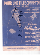 """G LL 3)Partitions Musicales Anciennes  """"Pour Une Fille Comme Toi"""" """"Johnny Hallyday"""" - Partitions Musicales Anciennes"""