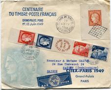 FRANCE LETTRE PAR AVION DEPART CENTENAIRE DU TIMBRE POSTE 10 JUIN 1949 PARIS POUR L'INDOCHINE - Poste Aérienne