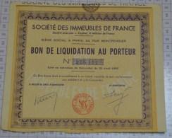 Sté Des Immeubles De France, 1 Bon De Liquidation Au Porteur - Industrie