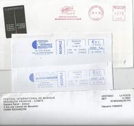 Lot De 4 Enveloppes Avec EMA Et Entête : Festival International De Musique De Besançon - Musique