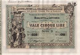 131 LOTTERIA BIGLIETTO 1897 - CONGREGAZIONE DI CARITA´ TORINO -  RARA - Billetes De Lotería
