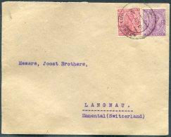 1920 India Aden Camp Cover A. Manordas - Langnau, Emmental, Switzerland - Aden (1854-1963)