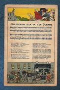"""CHROMO PUBLICITAIRE ORIGINAL,illustration,  Partition Et Paroles De La Chanson """"MALBROUGH S'EN VA T'EN GUERRE, - Chromos"""
