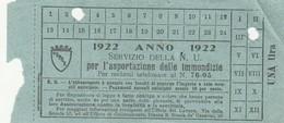 RICEVUTA SERVIZIO PER L'ASPORTAZIONE IMMONDIZIA ANNO 1922 - UNA LIRA (MA248 - Italia