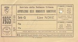 RICEVUTA SERVIZIO PER L'ASPORTAZIONE IMMONDIZIA ANNO 1935 - 9 LIRE -ROMA (MA251 - Italia
