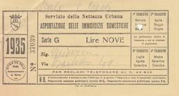 RICEVUTA SERVIZIO PER L'ASPORTAZIONE IMMONDIZIA ANNO 1935 - 9 LIRE -ROMA (MA253 - Italia