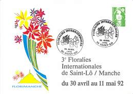 Cartes Postales Premier Jour - Les Floralies Saint Lo 30 Avril 1992 - Maximum Cards