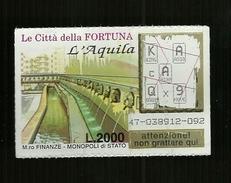 Gratta E Vinci - Le Città Della Fortuna - L' Aquila - Biglietti Della Lotteria