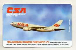 TELECARTE PAKISTAN  *Rs100  CSA Czechoslovak  Airlines  AVION  PLANE - Pakistan