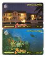TELECARTES  ILES CAYMAN  *CI$ 7,50  Corail Poissons Coral  Fishes   (lot De 2) - Iles Cayman