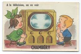 """CHAMBÉRY (73, Savoie) Carte à Système Dépliant Multivues - """"A La Télévision, On Va Voir...."""" - Chambery"""