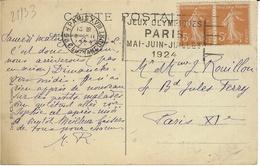 """REIMS - 1913 - Aviateur ROST - Oblit. Flier """" JEUX OLYMPIQUES /PARIS / Mai-Juin-Juillet / 1924 """" De Paris XVIII"""