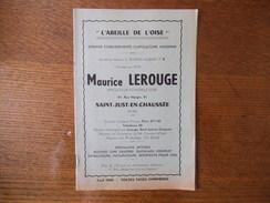"""SAINT JUST EN CHAUSSEE MAURICE LEROUGE APICULTEUR-CONSTRUCTEUR 91 RUE MANGIN """"L'ABEILLE DE L'OISE"""" TARIF 1949 8 PAGES - Publicités"""