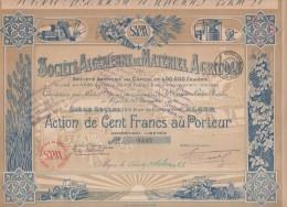 ALGERIE-ALGERIENNE DE MATERIEL AGRICOLE. ALGER. DECO. Capital De 400 KF - Shareholdings
