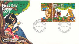 New Zealand FDC Health Stamps 8-8-1977 Complete Set With Cachet - FDC