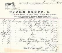 1878 - CLIFTON, STATEN ISLAND (ETATS-UNIS) - John Scott - LOCATION De CARRIOLES Avec CHEVAUX Et WAGONNET - Documents Historiques