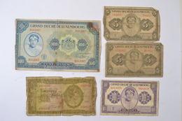 (AR10) Lot Billets Luxembourg Letzeburg 100 Francs 1944 ND, 20 Francs 1945, 2 X 5frs Et 10 Francs - Luxembourg