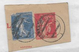 BARANOWICZE Bielorussie Cachet Sur Timbres Français (fragment Découpe D'entier Postal 90c Paix + Semeuse 10c Bleu .....G - Autres - Europe