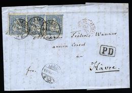 A4546) Schweiz Brief Von Aarau 16.7.67 Nach Le Havre / France - 1862-1881 Sitzende Helvetia (gezähnt)
