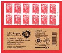 FRANCE - 2009 - CARNET N° 4197-C 10a -NEUF** NON PLIE Avec 2 CARRES NOIRS - Marianne De BEAUJARD - TVP  - COTE:45,00 Eu - Definitives