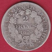 """France 2 Francs Argent Cérès 1870 A """"petit A"""" - I. 2 Francs"""