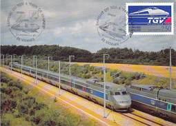 Croisement De Rames En Ligne - CACHET: Baptéme Du TGV Atlantique 56 - Pays De VANNES. 21/09/91 + Timbre La POSTE 2,50Frs - Eisenbahnen