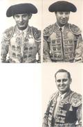 TAUROMAQUIA TOROS BULLFIGHTING CORRIDA TOREROS PEPE LUIS VAZQUEZ, JOSE MARIA MARTORELL Y RAFAEL ORTEGA 3 CPSM CIRCA 1940 - Corrida