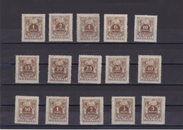 192 Eagle Mi. P65/79, Sc. J68/82, Yvert Taxe 65/79 Mint Hinged - Postage Due