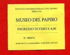 """921-2  -  Ticket D'entrée  """" Musée Du Papirus """" N° 000474   Pour Collection - Eintrittskarten"""