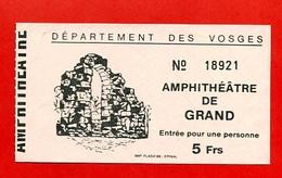 """980-0  -  Ticket D'entrée  """" Amphithéâtre De Grand """" N° 18921 Pour Collection - Eintrittskarten"""