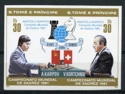 Sao Tome And Principe, 1981, Chess, Echec, Karpov, MNH Imperf Pair, Blue Overprint, Michel 712-13B - Sao Tome Et Principe