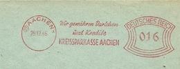 Firmcover Meter Kreissparkasse Aachen 28/12/1946 - Filatelie & Munten