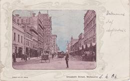 Litho Passepartout AK Melbourne Elizabeth Street Tram Tramway Hotel ? Victoria VIC Australia Australien Australie - Melbourne