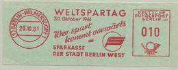 Nice Cut Meter Weltspartag 1961, Wer Spart Kommt Vorwarts Sparkasse Berlin Wilmersdorf 20/10/1961 - Factories & Industries