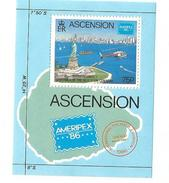 1986 Ascension Statue Of Liberty Helicopter Souvenir Sheet  MNH - Ascensione