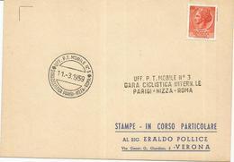 Gara Ciclistica Parigi, Nizza, Roma, 11.3.1959, Ufficio Postale Mobile N. 3. - Ciclismo