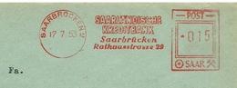 Firmcover Meter Saarlandsche Kreditbank Saarbrucken 17/7/1953 - Fabrieken En Industrieën