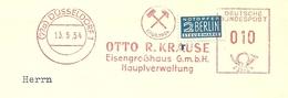 Firmcover Meter Otto R. Krause Eisengrosshaus Hauptverwaltung Dusseldorf 13/5/1954 Mit Notopfer Steuermarke Berlin - Fabrieken En Industrieën