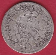 """France 2 Francs Argent Cérès 1871 A """"grand A"""" - Frankrijk"""