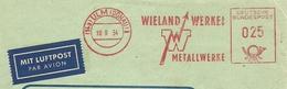 Firmcover Meter Luftpost Wieland Werke Metalwerke Ulm (Donau) 10/9/1954 - Fabrieken En Industrieën